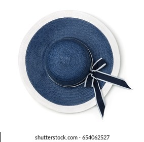 Top view of  blue summer straw hat isolated on white