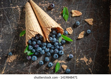 Top view of blueberries in waffels as ice cream concept