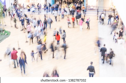 Top view of blurry people in the mall go shopping