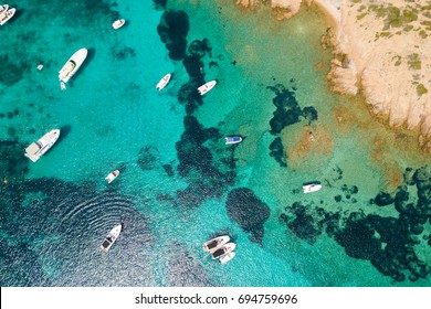 Top view of boats in Sardinia.