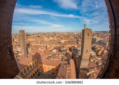 Top view of bologna through the window of a tower