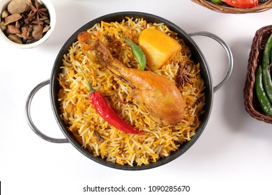 Top view of bombay biryani, Traditional spicy indian food, Desi iftar meal, Ramadan dinner.
