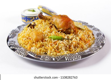 Top view bombay biryani, Traditional spicy indian food, Iftar meal, Ramadan dinner.