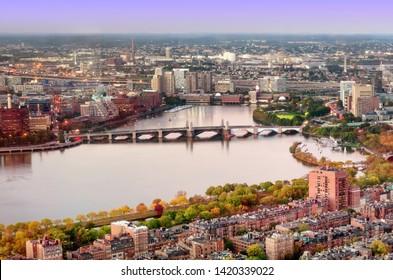 Top view of Boston, Massachusetts, USA