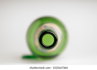 Top View Of A Bottleneck, Empty Bottle. Abstinence, Alcoholism Treatment.