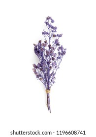 Top view bouquet of dried and wilted purple Gypsophila flowers isolate on white background