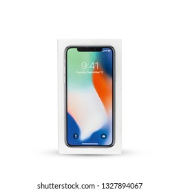 Top view box i phone x isolated on white background with clipping path , 3 March 2019, Bangkok, Thailand