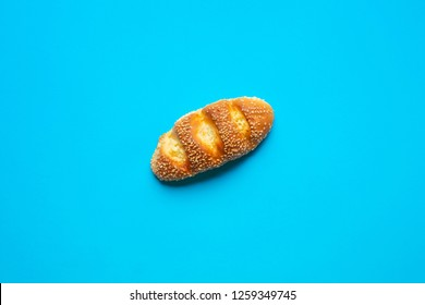 Top view of bread and bakery on blue color background.Food and healthy concepts images