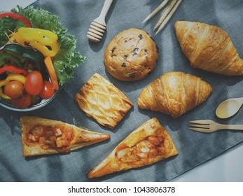 Top view of breakfast bread and coffee food concept
