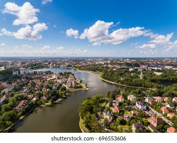 Top view of the bridge of Upper Lake in Kaliningrad, Russia