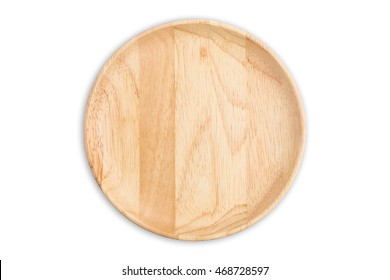 Top view bright empty wooden dish isolated on white background. Saved with clipping path