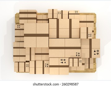 Top view of brown cardboard package box stack.