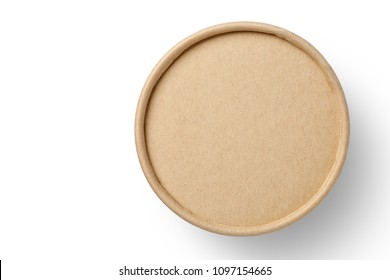 Top view of brown paper box isolated on white background