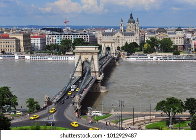 Top view of Budapest chain bridge and city center, Hungary