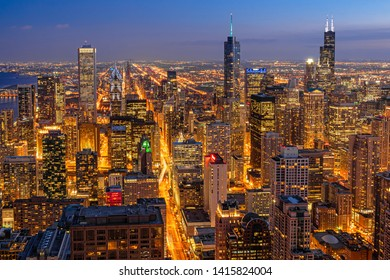 Top view building of Chicago cityscape at the night time, USA downtown skyline, Architecture and building with tourist concept