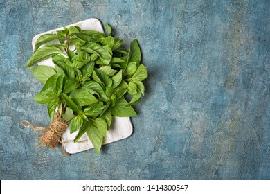 Top view of bunch of fresh green basil leaves on white wooden board and blue concrete background with copy space