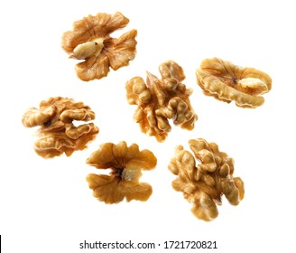 Top view of bunch of nutrient fresh walnuts without shell isolated on white background