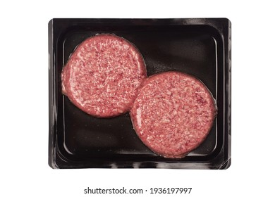 top view of burger beef meat for hamburger in vacuum plastic black packaging isolated on white background