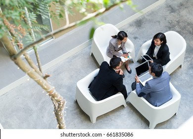 Top view of business discussion