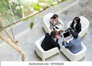 Top view of business people discuss at outdoor area