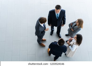 Top view of business people. Business meeting and teamwork