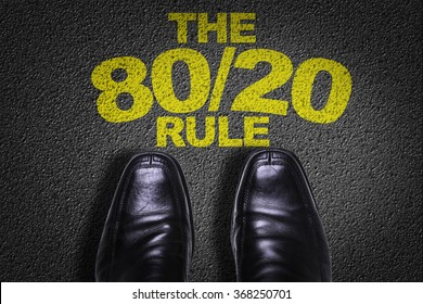 Top View of Business Shoes on the floor with the text: The 80/20 Rule