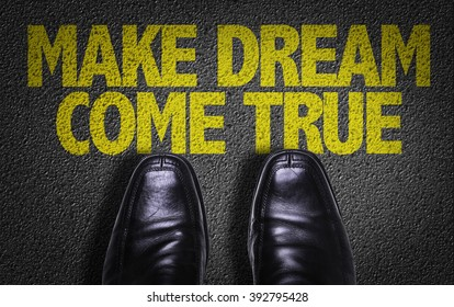 Top View of Business Shoes on the floor with the text: Make Dream Come True