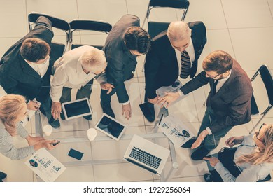 top view. businessman and the business team work with financial documents .