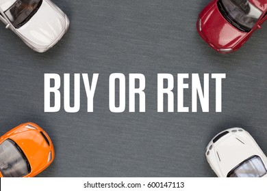 Top view of buy or rent a car