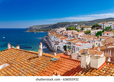 Top view in Cadaques, Catalonia, Spain near of Barcelona. Scenic old town with nice beach and clear blue water in bay. Famous tourist destination in Costa Brava with Salvador Dali landmark