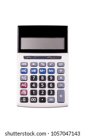 Top view of calculator device for calculating the numbers isolated with clipping path on white background,