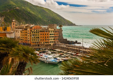Top view of Camogli city on the Ligurian Riviera in Italy.