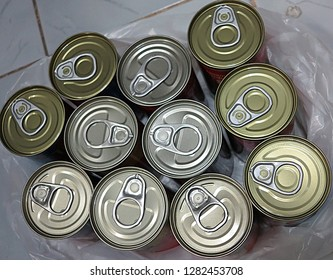 Top view of canned food