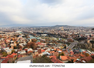 Top view of capital of Georgia- Tbilisi