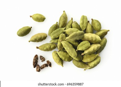 Top View of Cardamom Isolated on White Background