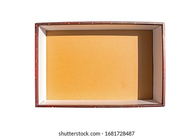 Top view of cardboard box or empty box with shadow, isolated  on white background with clipping path.
