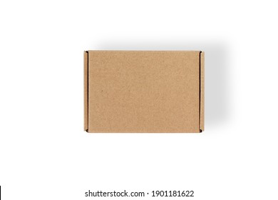 Top view of carton isolated on a white background with clipping path. Brown cardboard delivery box.