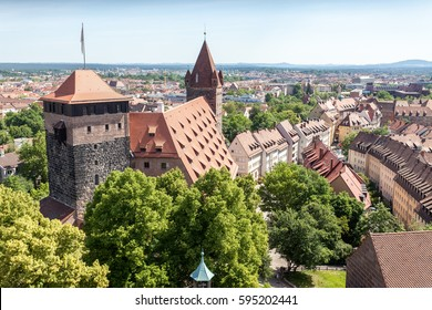 Top view of the castle of Nuremberg in Bavaria with blue sky