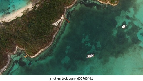 Top View of Catamaran on a Coral Reef in Bahamas