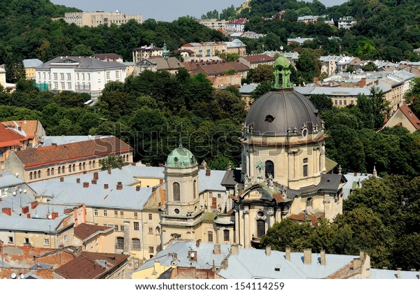 Top view of the Cathedral in Lviv, Ukraine.