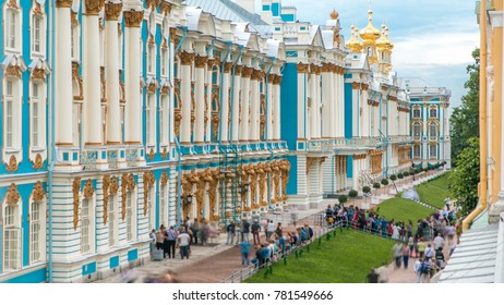 Top view of the Catherine Palace is a Rococo palace located in the town of Tsarskoye Selo (Pushkin), long queue of tourists, 25 km south-east of St. Petersburg, Russia.