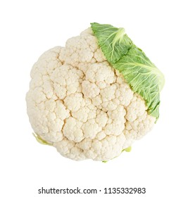 Top view of cauliflower isolated on white background.