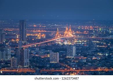 Top view of center of Bangkok, Thailand