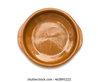 Top view of ceramic clay pot isolated on white with clipping path