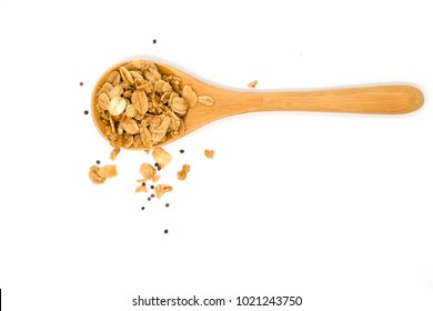 Top view cereal and wooden spoon on white background, Isolated cereal and wooden spoon on white screen