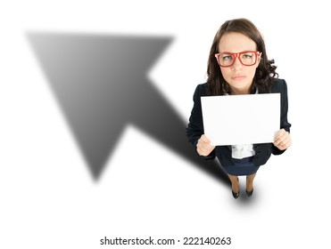 Top view of cheerful businesswoman with white blank banner
