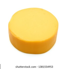Top view of cheese wheel isolated