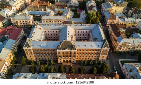 Top view. Chernivtsi city from above Western Ukraine. Regional Council building of Chernivtsi on sunset top view.