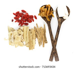 Top view of chinese herbals medicine on white background