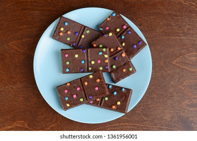 top view chocolate brownies with candy pieces